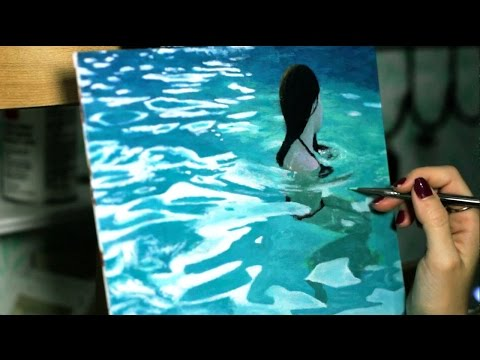 Oil Painting Timelapse | Realistic water | girl in swimming pool