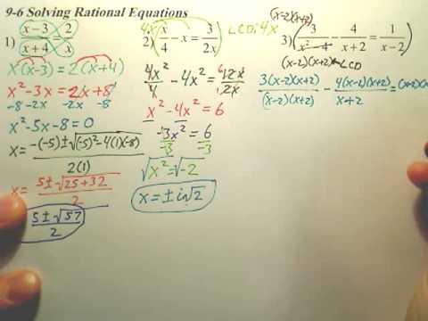 Algebra 2 9 6c Solving Rational Equations Algebra 2 Youtube
