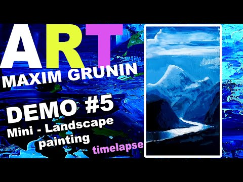 Maxim Grunin – Demo, painting a miniature landscape using white, blue, and black acrylics.