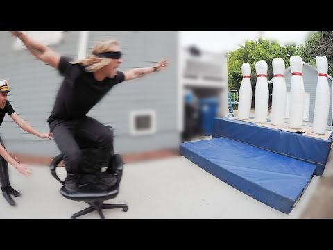 OFFICE CHAIR BOWLING! (BLINDFOLDED!)