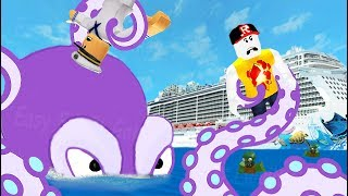 ПОБЕГ С КОРАБЛЯ ЗОМБИ в ROBLOX Огромный ОСЬМИНОГ захватил корабль видео для детей KIDS CHILDREN