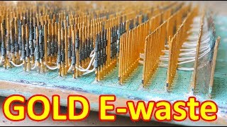 E-waste electronic scrap old recycle gold plated pins and recovery gold recycle circuit boards gold.