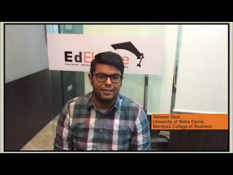 Success Story  Abhinav Gaur, Universityof Notre Dame, Mendoza College of Business