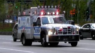 NYPD Police Emergency Services Unit REP Truck + Police Car - Obama NYC