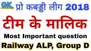 प्रो कबड्डी लीग 2018 के मालिक   Pro kabaddi league 2018 owners   Railway alp, group D