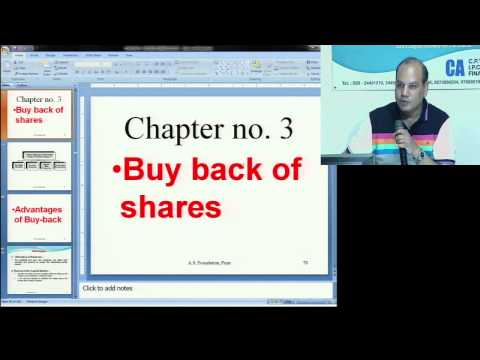 IPCC Advanced Accountancy   Group 2  Buyback Of Shares by CA Vinod Kumar Agarwal of A S  Foundation