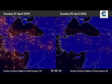 Air traffic situation over Turkey - 05 April 2019 vs 03 April 2020