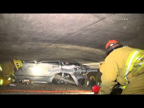 Fatal SUV Crash Wedged Under Bridge / Boyle Heights   RAW FOOTAGE