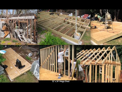 DIY How to Build 12′ x 24' Mega Shed Shack Tiny House Garage Foundation Footers Framing Roof Truss 1