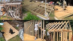 DIY How to Build 12' x 24' Mega Shed Shack Tiny House Garage Foundation Footers Framing Roof Truss 1