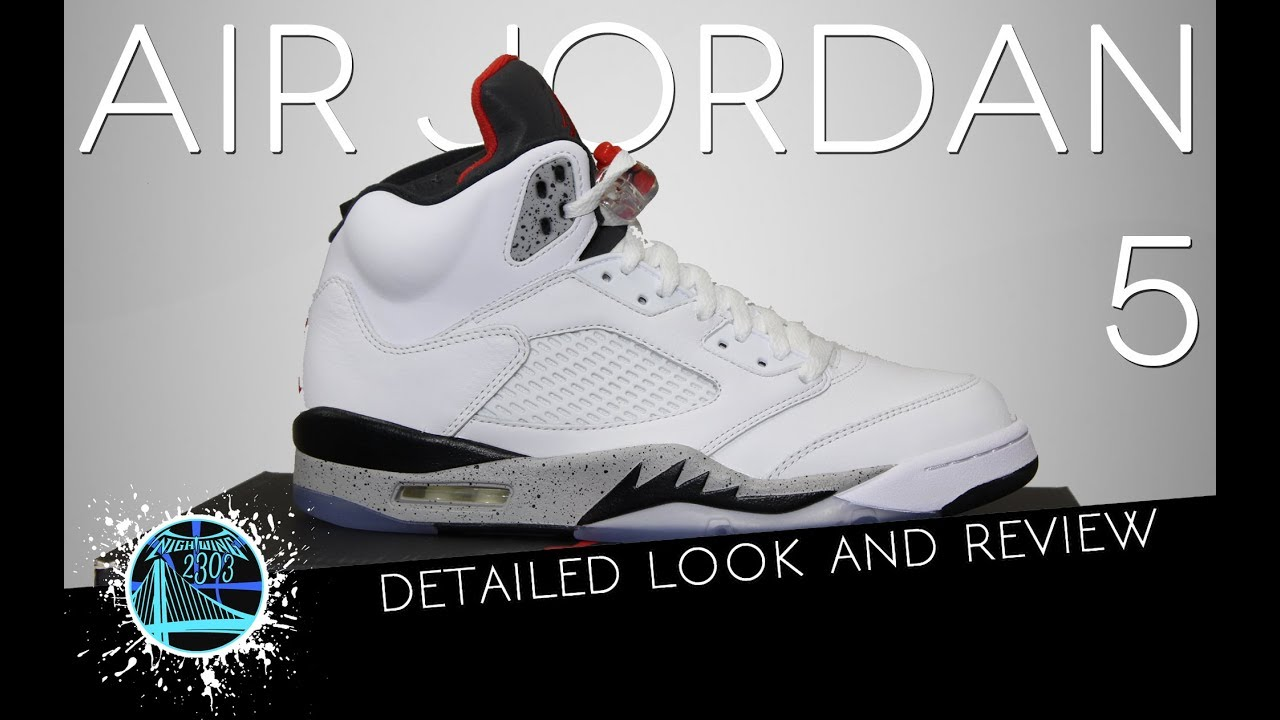 98d0f91aa49 Air Jordan 5 White/Cement | Detailed Look and Review - YouTube