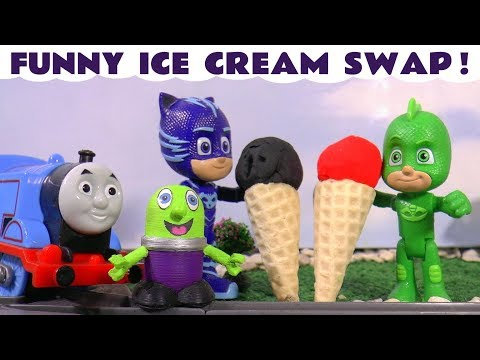 Thomas The Tank Engine and funny Funlings Play Doh Ice Cream swap with PJ Masks and Tom Moss TT4U