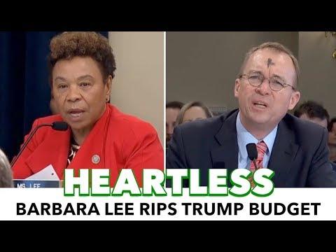 Barbara Lee Rips Trump's Heartless Budget And $30M Parade