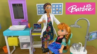 Princess Anna and Elsa Toddlers Dentist Visit Story with Barbie and Chelsea at Barbie Dentist Office