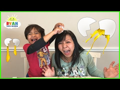 Thumbnail: EGGED ON Egg Roulette Challenge Family Fun Game for Kids! Gross Messy Real Food Eggs Surprise Toys