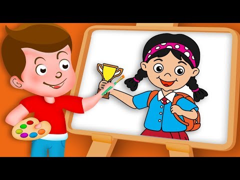 Drawing School Girl Drawing Paint And Colouring For Kids | Kids Drawing TV