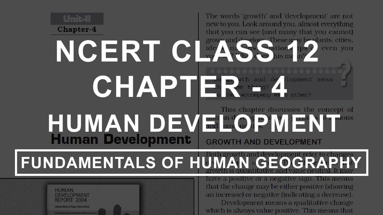 Human Development - Chapter 4 Geography NCERT Class 12