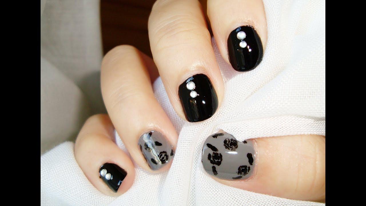 Diseño uñas cortas: rosas de otoño negro gris / Short