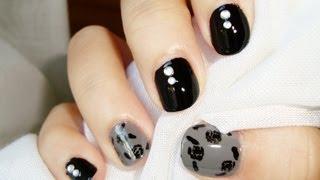Diseño uñas cortas: rosas de otoño negro gris / Short nails design: autumn fall roses black grey