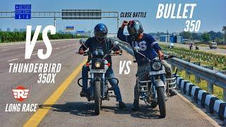 Royal Enfield Bullet 350 Vs RE Thunderbird 350X Close Fight | Long Race | Ksc Vlogs