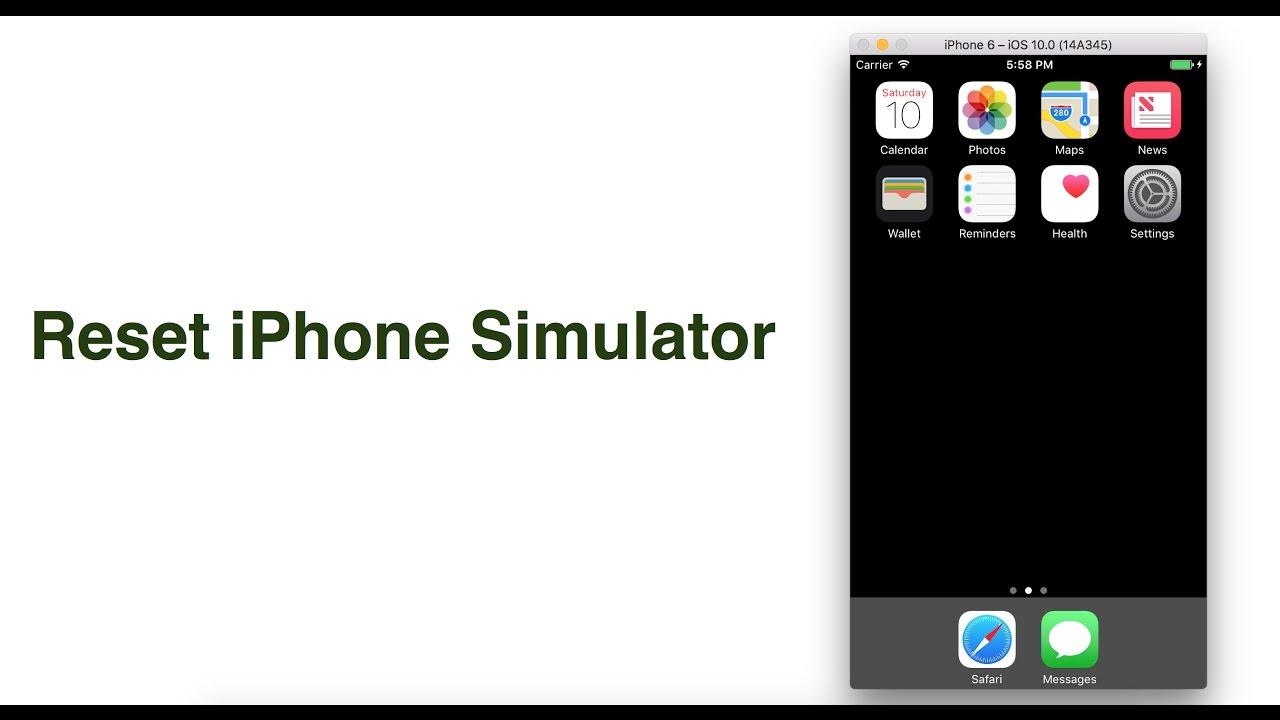 How to reset iPhone simulator - xcode 8 - iOS 10