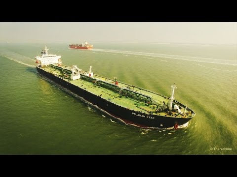 Phantom 3 - Tanker Palawan Star & Container ship OOCL Belgium Aerial View at Sea 4K