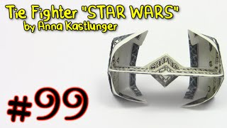 Origami Money Tie Fighter STAR WARS by Anna Kastlunger  - Yakomoga dollar Origami tutorial