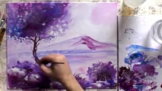 Живопись акриловыми красками. Вечерний пейзаж. Урок для начинающих художников.