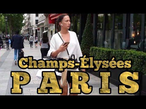 FRANCE 4K ���� Paris walking tour, Champs-Elysees July 2020