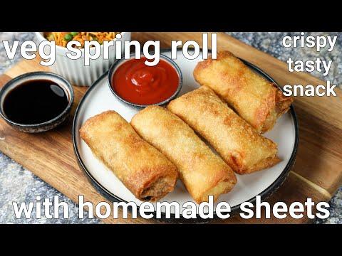 veg spring roll recipe with homemade spring rolls sheet | crispy & crunchy spring rolls