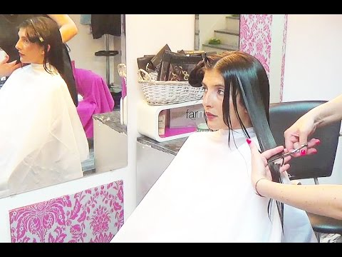 A magic romantic square straight bob in a wonderful young lady starting with long dark hair