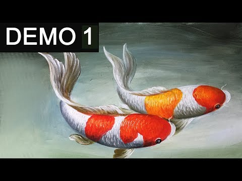 Paint koi fish with Acrylic on canvas -Demo 1