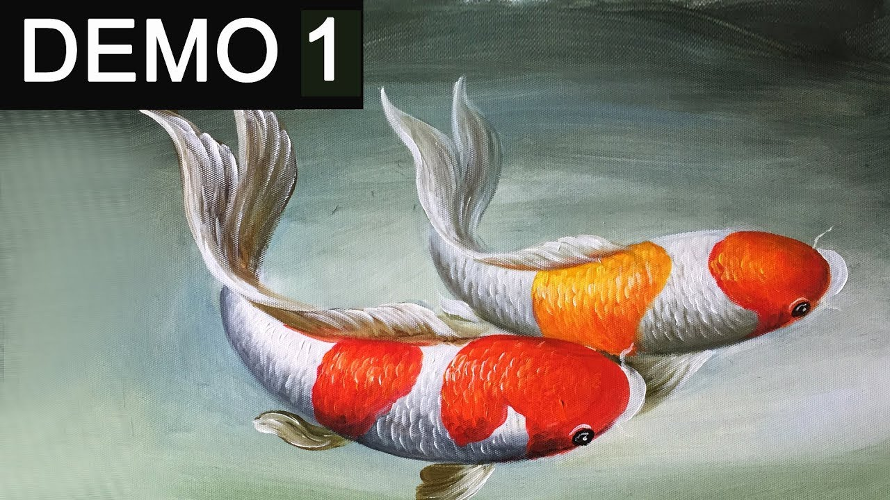 Paint koi fish with acrylic on canvas demo 1 youtube for How to paint a fish