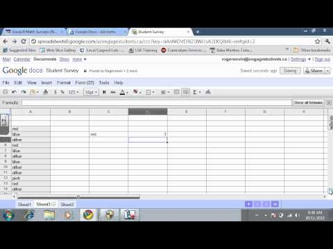 creating a graph from survey data use google docs spreadsheet youtube
