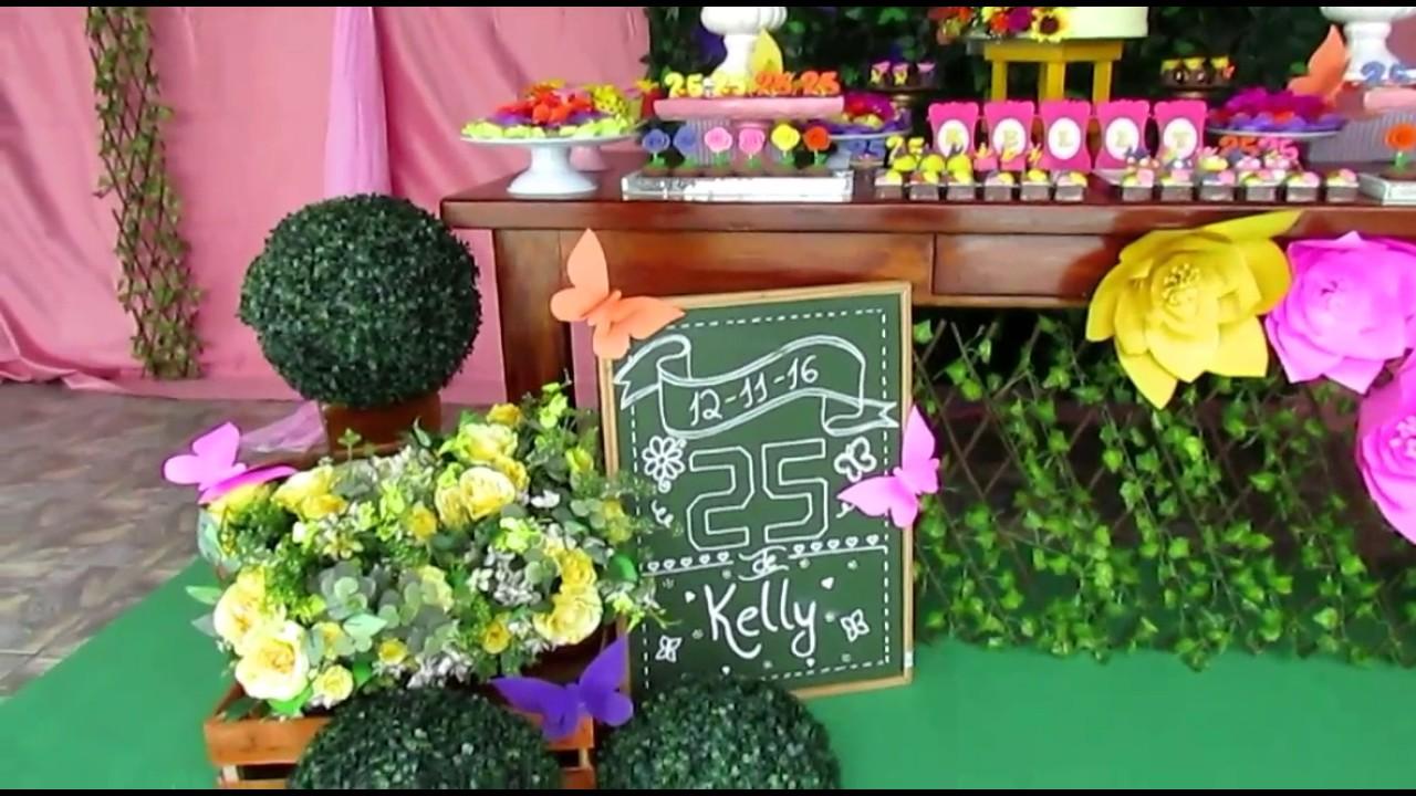 Decoraç u00e3o festa de aniversário Jardim Encantado YouTube # Decoração De Aniversario Jardim Encantado Das Borboletas