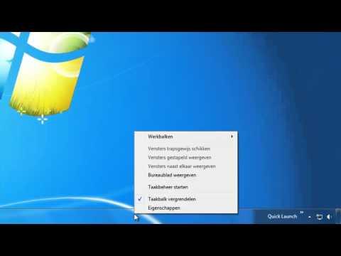 Werkbalk snel starten in Windows 7