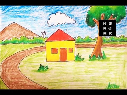How To Draw A House For Kids Step By Step Gambar Rumah Anak Tk Youtube