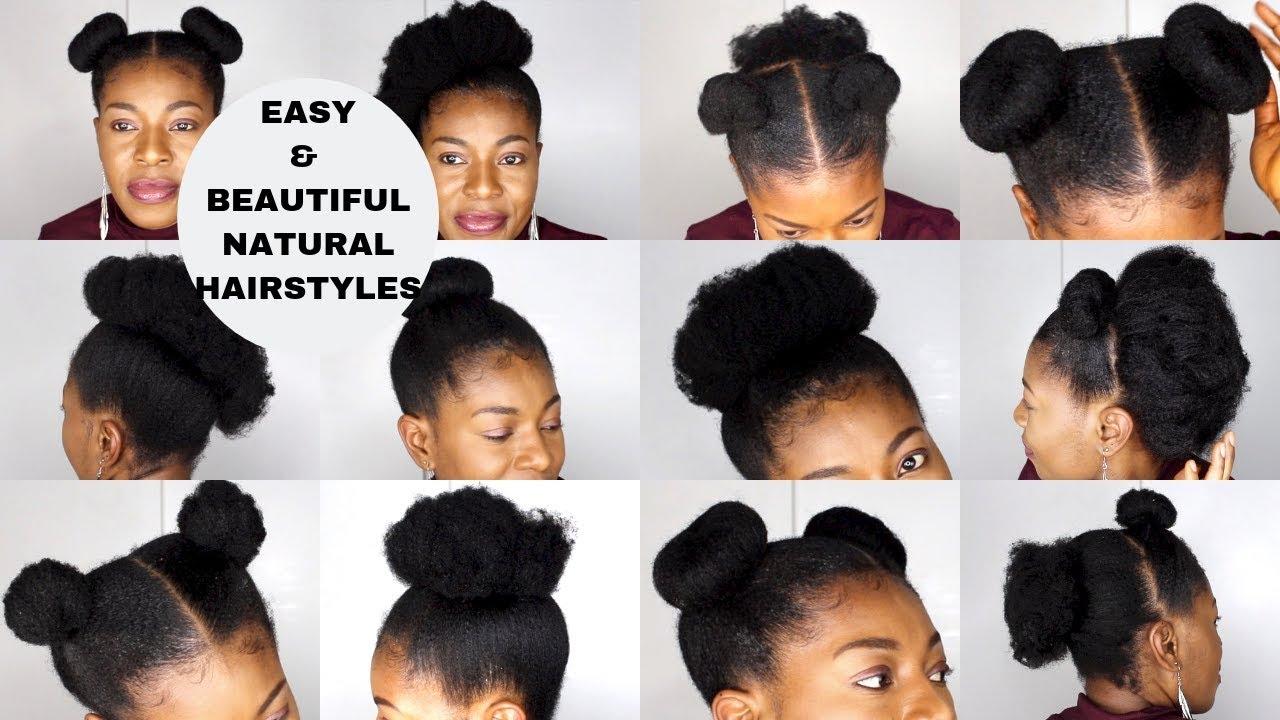 10 Very Easy Natural Hairstyles Short To Medium Length 4c Neknatural Youtube