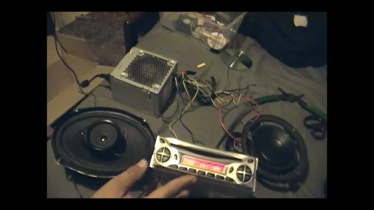 how to power a car stereo with a computer power supply youtube car stereo power supply filter at Car Stereo Power Supply