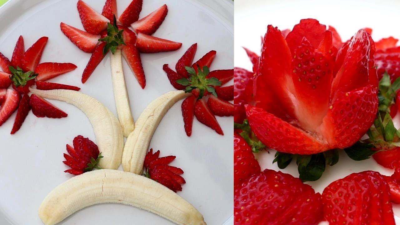 How To Make Strawberry Decoration Art Fruit Carving Garnishes Youtube