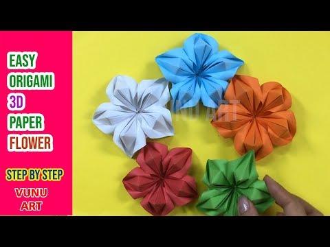 🔰 Easy Origami 3D Paper Flower | DIY Paper Flower | VUNU ART (Ep.7)