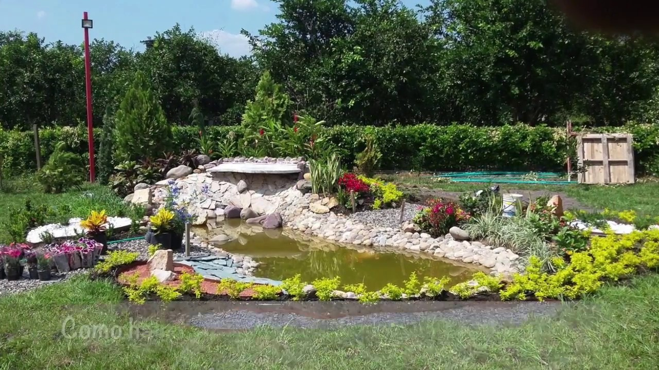 Como hacer jardin lago youtube for Construir laguna artificial