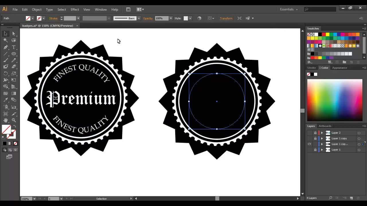 Sticker graphic design software - How To Easily Create A Custom Vintage Badge Sticker Or Logo In Adobe Illustrator Youtube