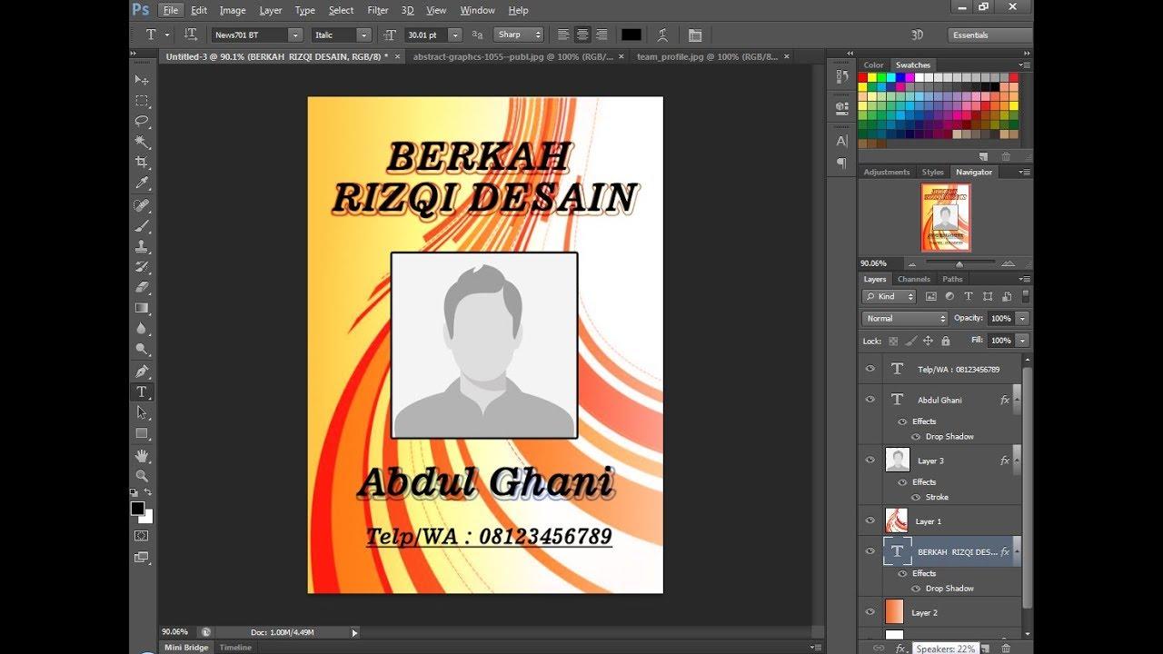Cara membuat desain Id Card di photoshop - YouTube
