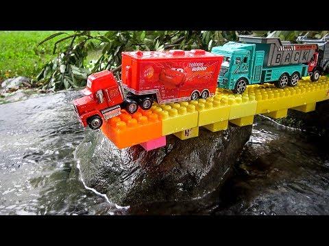 Construction Vehicles Falling in Water | Mack Truck, Excavator, Dump Trucks Toy for Children