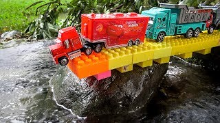 Construction Vehicles Falling in Water | Mack Truck, Excavator, Dump Trucks Toy for Children