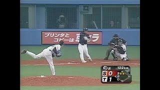 野手転向する前のホームラン 投手は初登板の阪神・能見篤史.