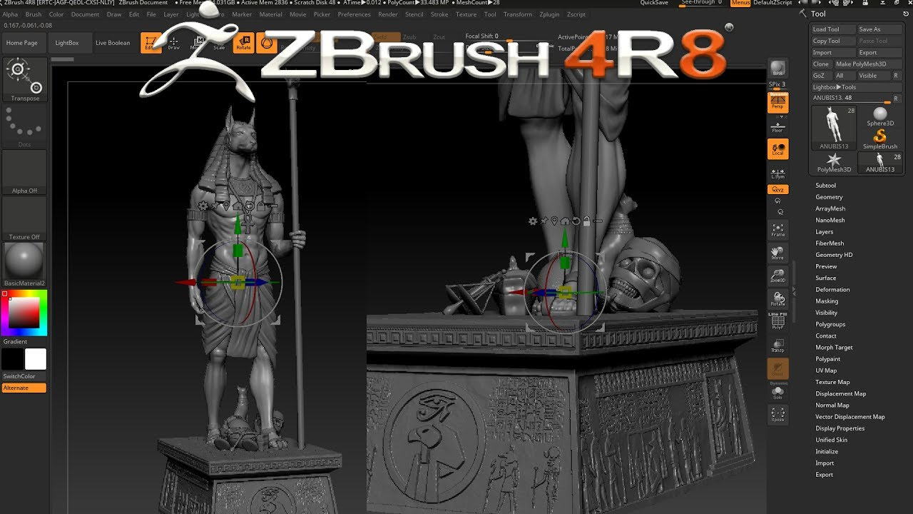 ZBRUSH 4R8 NEW GIZMO FEATURE - MOVE MULTIPLE SUBTOOLS - YouTube