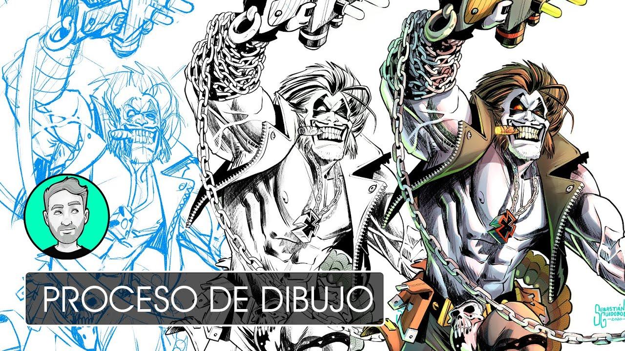 Dibujando a LOBO (Tinta y Color) | Personajes de DC
