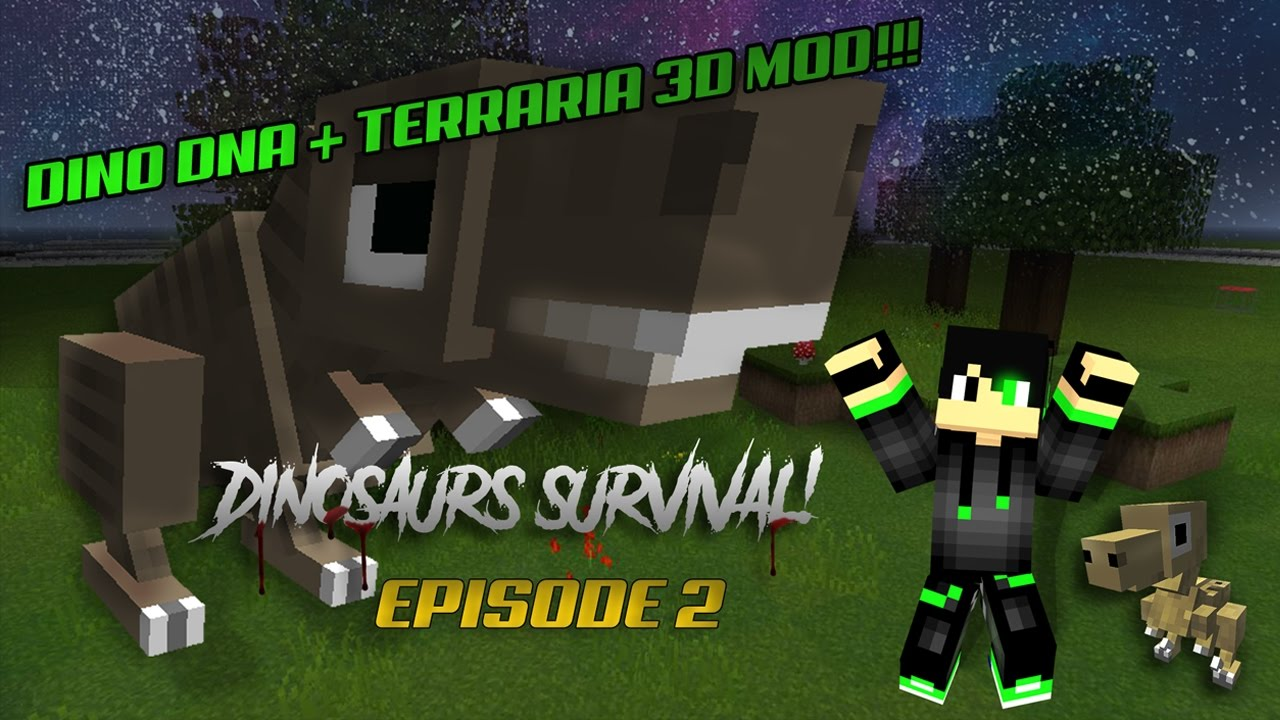 Minecraft Dinosaurs Episode 2 : Dino Dna! + Terraria 3d MOD!!